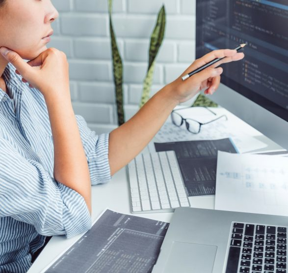 Developing programmer Development Website design and coding technologies working at home
